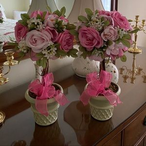 Set of Two Tabletop Rose Topiary Trees